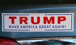 Bumper sticker in support of presidential candidate Donald Trump on display Royalty Free Stock Photos