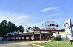 The Bumpers Drive-In Restaurant, Choctaw, Mississippi. The Bumpers menu features burgers, fresh-cut, hand-battered onion rings, chili cheese dogs and many other stock images