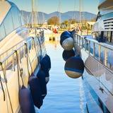 Bumpers protection between two boats. New Marina di Pisa's harbor (Italy - Tuscany Stock Photos