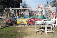 Bumping cars in the goal in an amusement park in Istanbul, Turkey. 