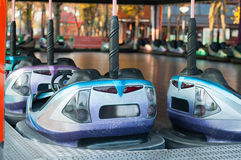 Bumping cars ride. Parked bumping cars at the amusement park Royalty Free Stock Photo