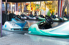 Bumping cars ride. Parked bumping cars at the amusement park Royalty Free Stock Image