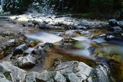 Bumping creek. After the first Autumn snow Royalty Free Stock Photography
