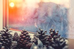 Bumps on the window in the winter morning royalty free stock image