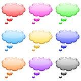 Bumpy bubble shiny icons set vector illustration