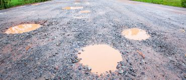 A bumpy dirt road, a road is full of potholes. Focus on foregrounds. Horizontal view.  royalty free stock image
