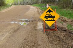 A bumpy road ahead sign with a large pothole.  Stock Photos