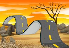 Bumpy road in the field. Illustration Royalty Free Stock Photo