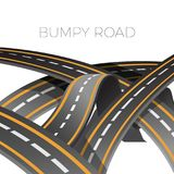 Bumpy road icon uneven dangerous wave path with marking vector Stock Image