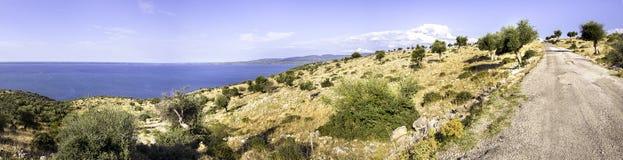 Bumpy road Lake Varano in Puglia countryside -  Gargano Royalty Free Stock Images