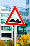 Bumpy road sign Stock Photo