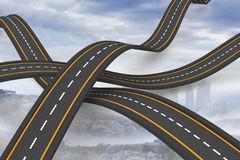 Bumpy roads crossing backdrop Royalty Free Stock Photo