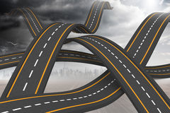 Bumpy roads crossing backdrop Stock Images