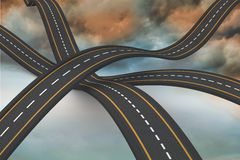 Bumpy roads crossing backdrop Stock Photography