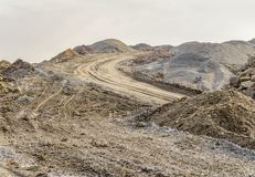 Bumpy scenery. Including lots of earth piles at a building lot royalty free stock images
