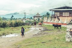 Bumthang,不丹- 2016年9月14日:在Kurjey Lhakhang (版本记录寺庙) Bumthang附近的传统不丹建筑学 库存图片