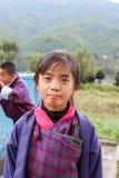 Bumthang,不丹- 2016年9月14日:学生在Wangdicholing初中在Jakar, Bumthang,不丹 免版税库存照片