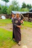 Bumthang,不丹- 2016年9月13日:老不丹妇女与 库存图片