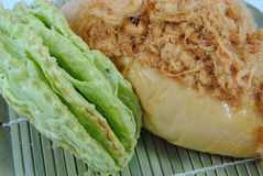 Bun. Shredded pork bun with green tea bun Royalty Free Stock Image