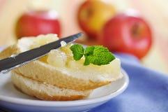 Bun with apple jam Stock Photos