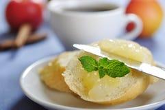 Bun with apple jam Stock Images