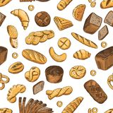 Bun, bagel, baguette and other bakery foods. Vector seamless pattern in retro style stock illustration