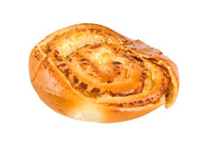 Bun baked with cheese. Fresh bun baked with cheese isolated on white royalty free stock images
