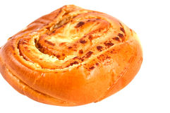 Bun baked with cheese. Fresh bun baked with cheese isolated on white Stock Photos