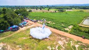 Bun Bang Fai rocket festival. Bun Bang Fai, or the rocket festival is a merit making ceremony traditionally practiced by ethic Lao people throughout much of Stock Image