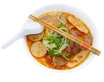 Bun bo hue. Bowl of bun bo hue beef noodle soup Vietnamese food Royalty Free Stock Image