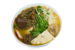 Bun Bo Hue. Hue Beef and Pork Rice Vermicelli with vegetable Stock Photos