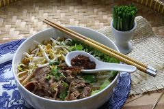 Bun Bo Hue. Spicy rice noodle soup dish from Hue region in Vietnam Stock Photography