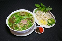 Bun bo or Vietnamese vermicelli noodle soup with minced beef Stock Images