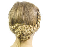 Bun braid hairstyle Stock Photo