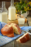 Bun with butter and milk. Breakfast in rustic style. Selective f. Ocus Stock Images