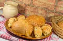 Bun with cheese and bread rolls Stock Photo