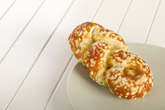 Bun with cheese gratin Stock Image