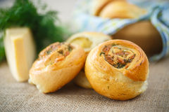 Bun with cheese and herbs Royalty Free Stock Image
