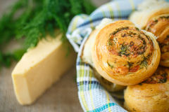 Bun with cheese and herbs Royalty Free Stock Photography