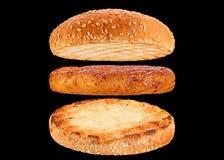 Bun and chicken rissole ingredient hamburger Stock Photos