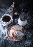 Bun with cottage cheese and coffee. Stock Images