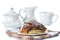Bun covered chocolate and glaze Stock Photography