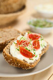 Bun with Cream Cheese, Tomato and Sprouts Royalty Free Stock Photo
