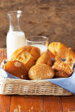 Bun,croissant and bread in basket Stock Images