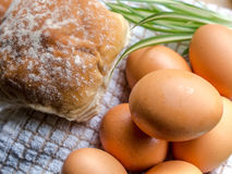 Bun and eggs Royalty Free Stock Photos