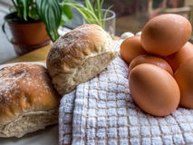 Bun and eggs Royalty Free Stock Photography