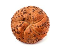 Bun with flax seeds,  on white background. Kaiser Roll with grain flax. Stock Image