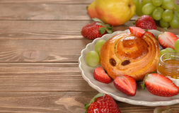 Bun with fruit Royalty Free Stock Image