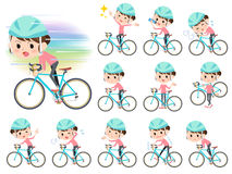 Bun hair mom Pants style ride on rode bicycle. Set of various poses of Bun hair mom Pants style ride on rode bicycle Royalty Free Stock Photo