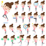 Bun hair mom Pants style 2. Set of various poses of Bun hair mom Pants style 2 Stock Photos